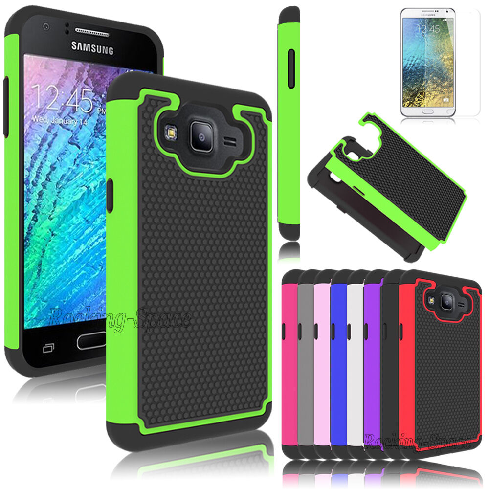 Film + New Hybrid Protective Rubber Hard Case Cover For Samsung Galaxy ...