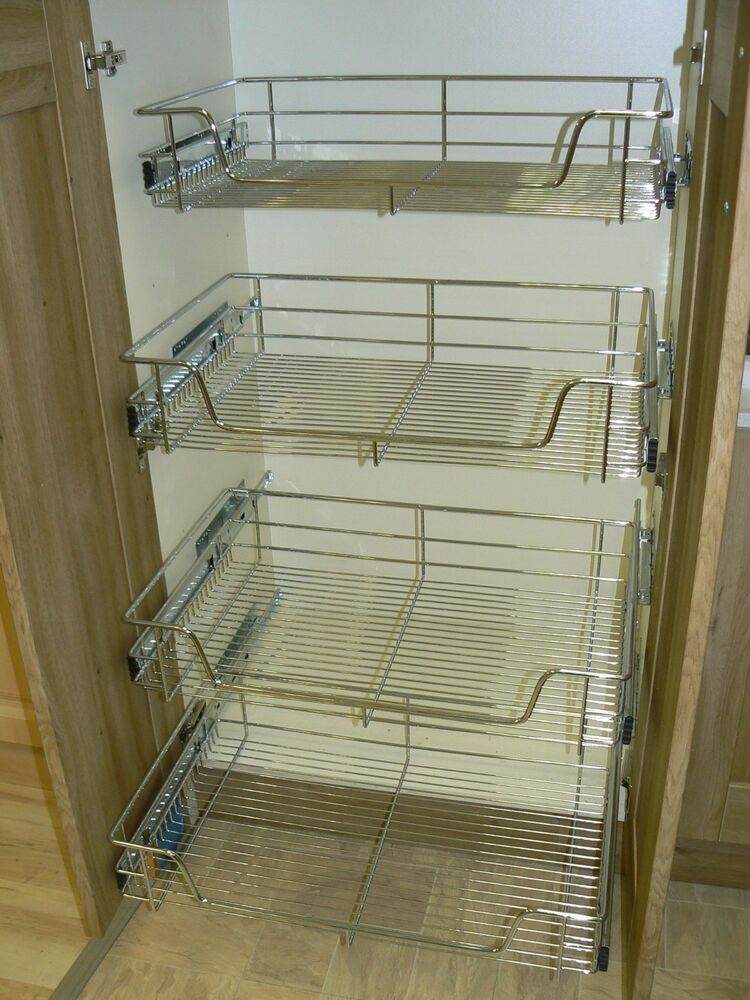 4 X Pull Out Wire Basket Chrome Kitchen