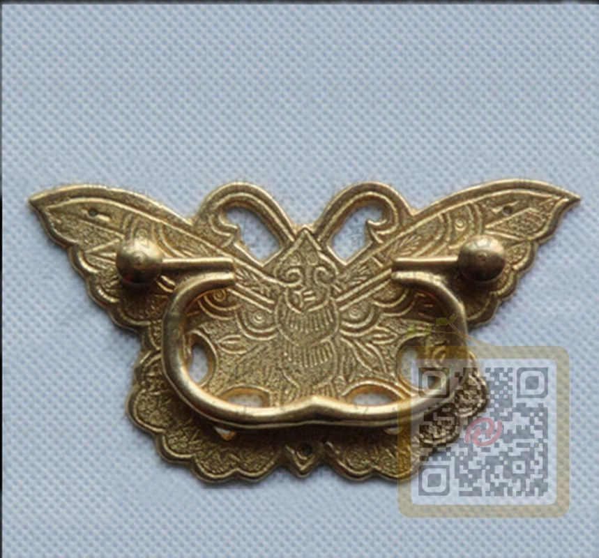 chinese antique beautiful butterfly style brass drawer pull handle for cabinet ebay. Black Bedroom Furniture Sets. Home Design Ideas