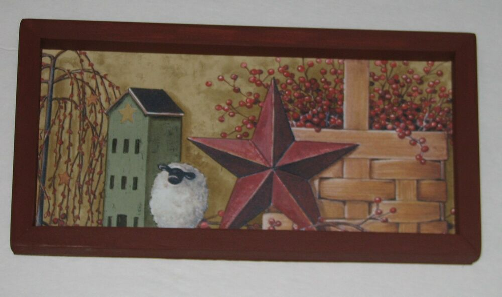 Star Wall Decor Ideas: Primitive Country Green Salt Box House Star Basket 6 Inch