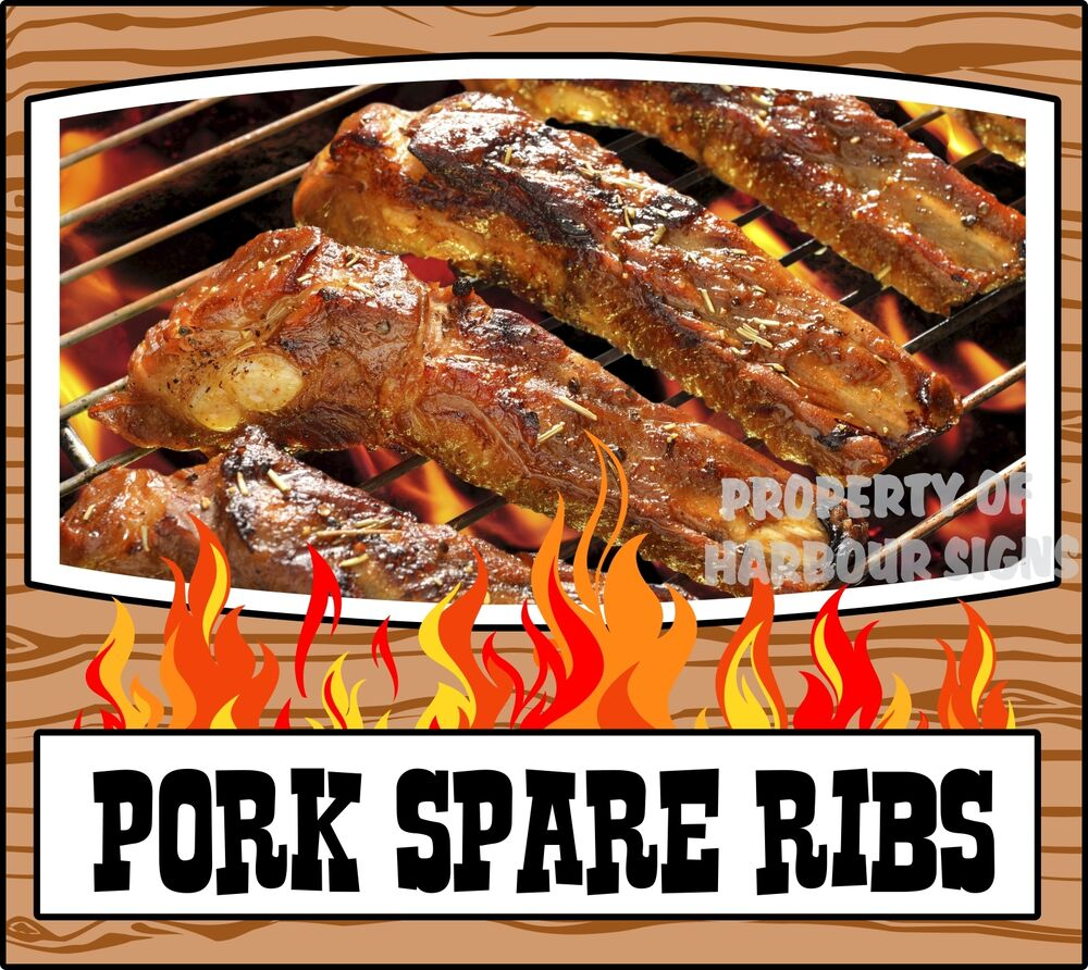 grill menu pork spare ribs decal 14 bbq food truck. Black Bedroom Furniture Sets. Home Design Ideas
