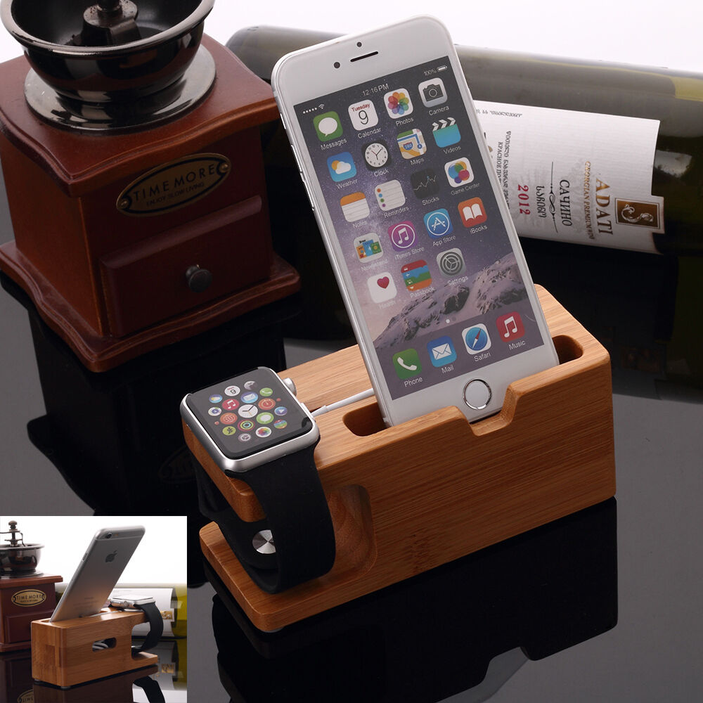 bamboo charging dock station charger mount holder stand for apple watch iphone ebay. Black Bedroom Furniture Sets. Home Design Ideas