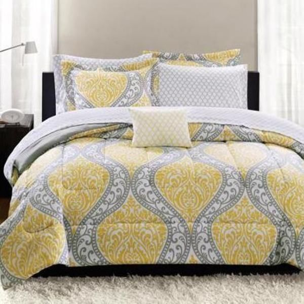Yellow Gray King Size Comforter Set Complete Bedroom
