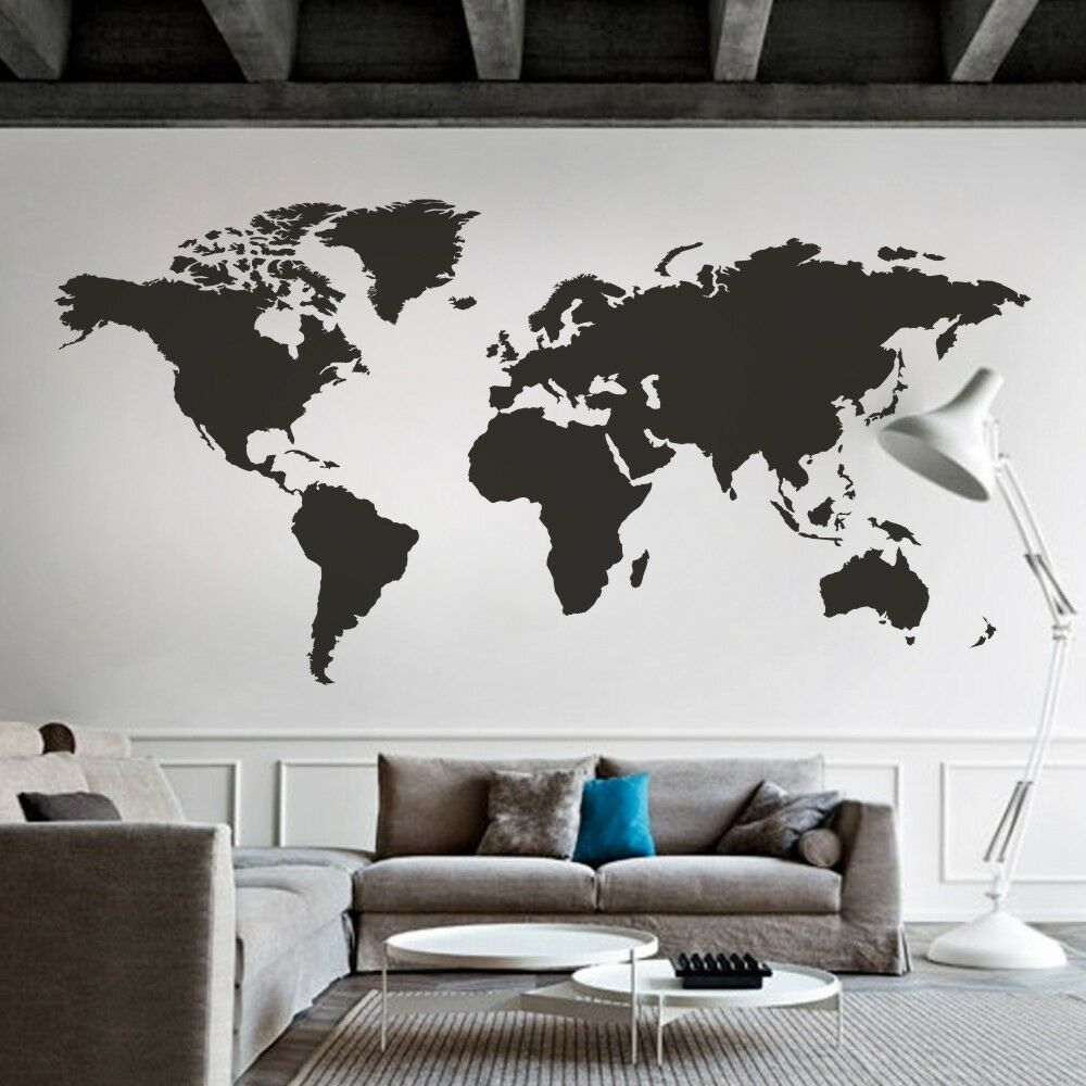 World map wall decal big global vinyl office inspiration for Black wall mural