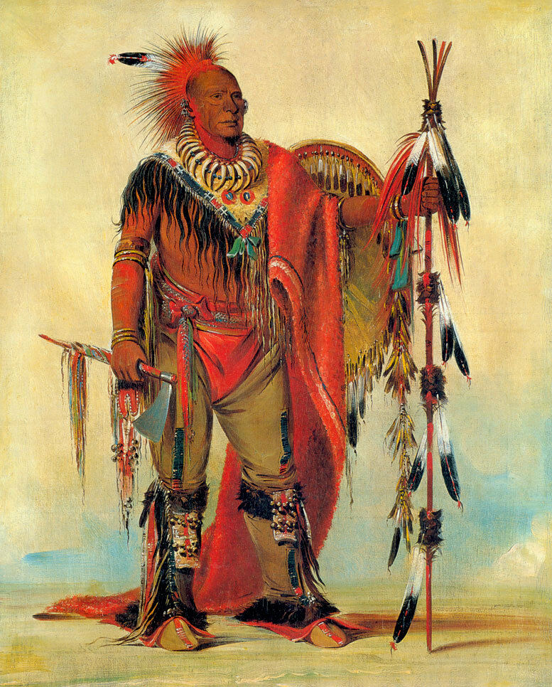 Watchful Fox Indian Chief 15x22 George Catlin