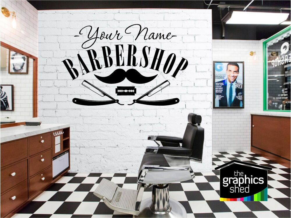 Barber shop sign wall art quote sticker hair beauty salon for Stickers salon design
