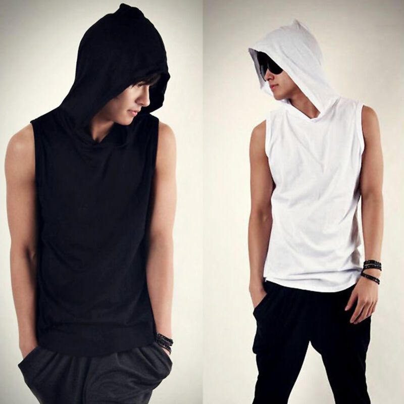 New Fashion Men Korean Beach Casual Hoodie Sleeveless Cap Shirts Tops T Shirt Ebay