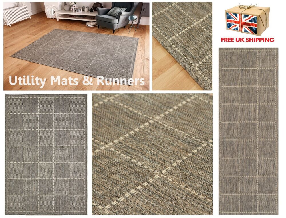 Checked Flatweave Utility Mats Kitchen Rugs Hall Runners