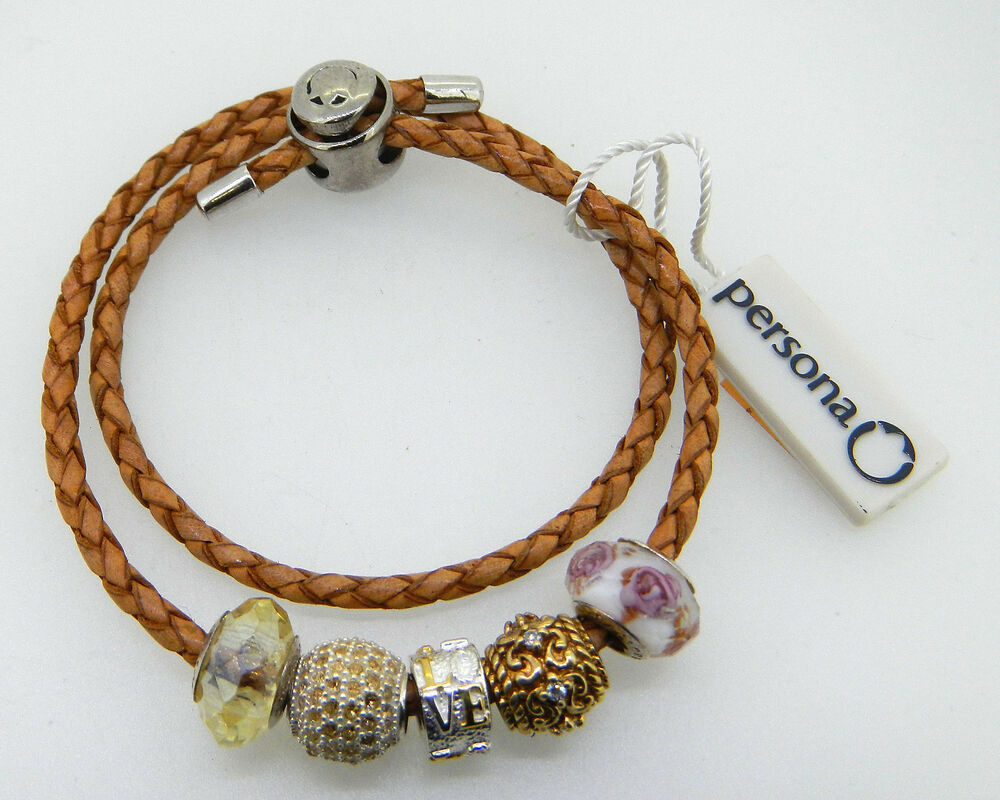 persona bracelet charms new persona brown bracelet with 5 charms retail is 7153