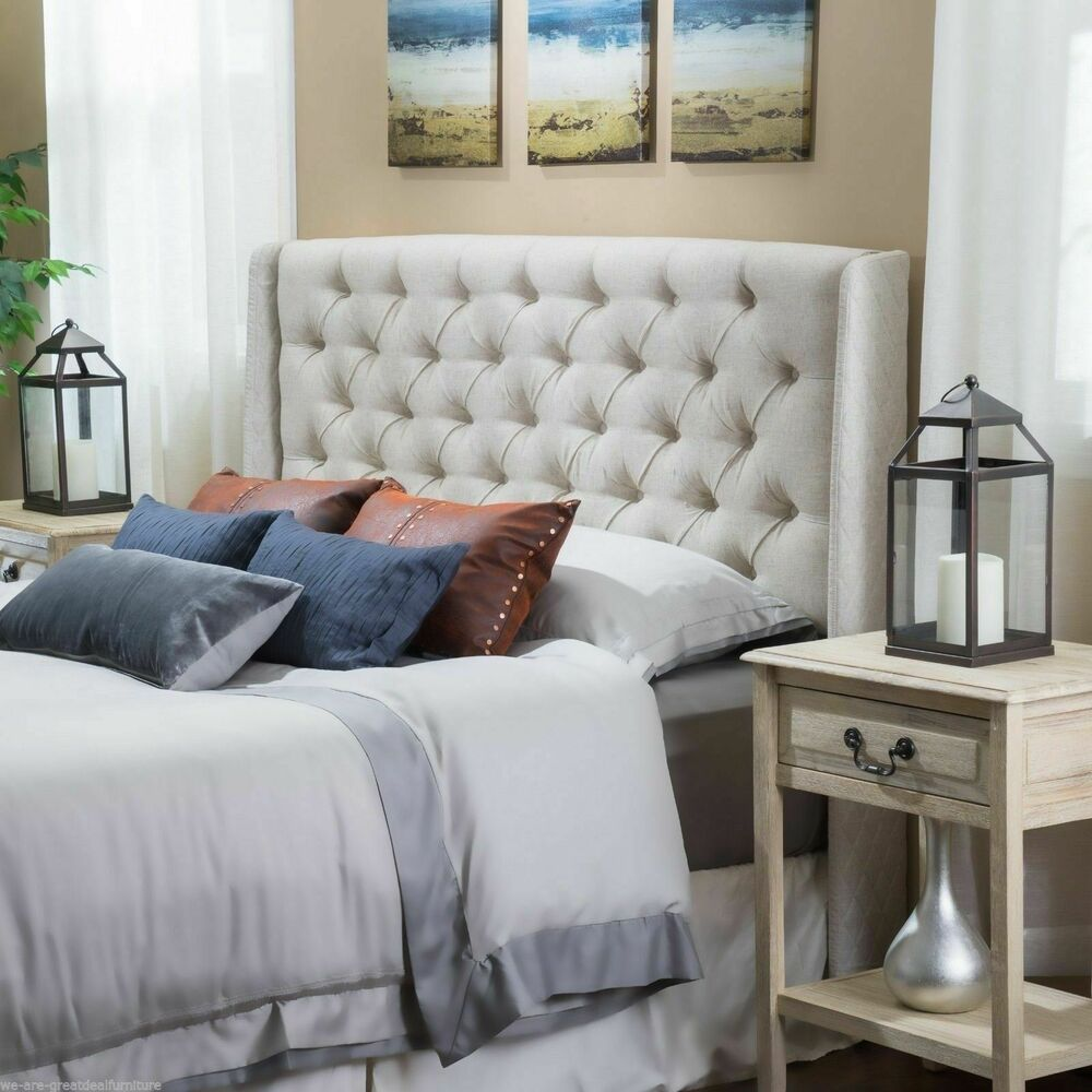 bedroom furniture queen full size bed wingback beige tufted fabric headboard ebay. Black Bedroom Furniture Sets. Home Design Ideas