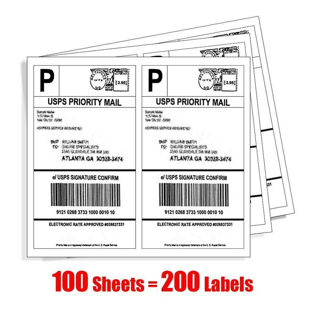 200 half sheet shipping labels self adhesive 85x55 blank for Half page labels