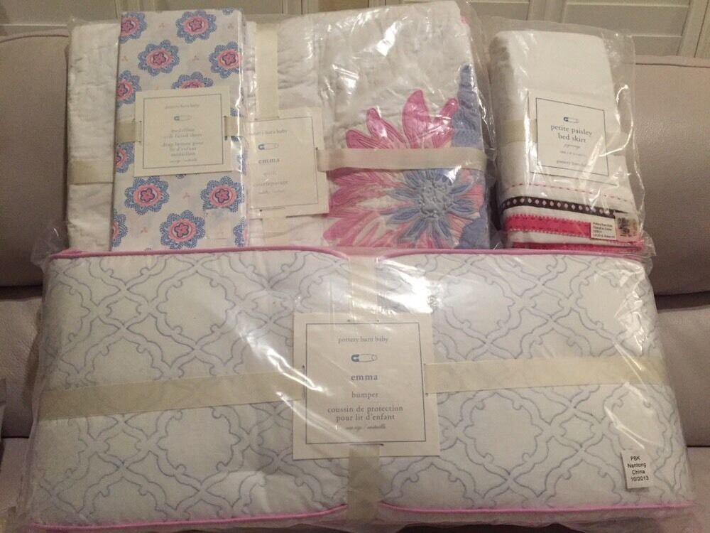 4pc Pottery Barn Kids Baby Floral Emma Crib Quilt Bumper