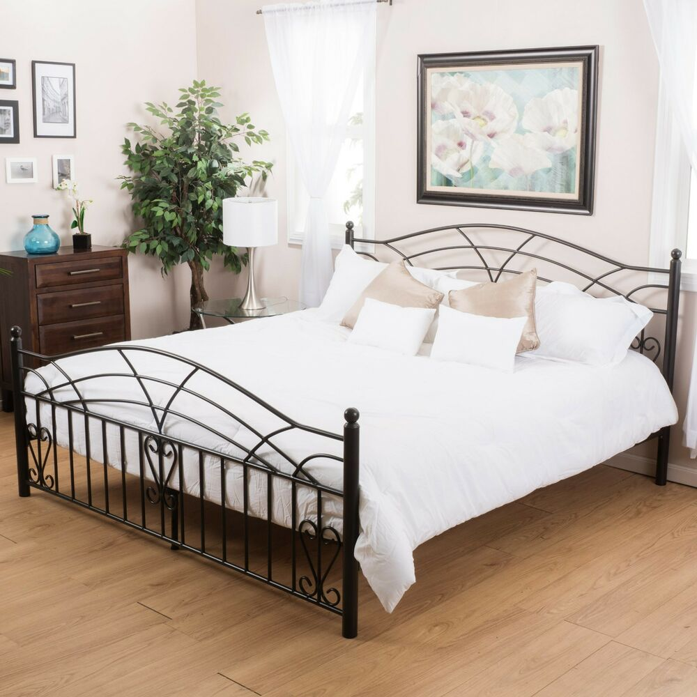 bedroom furniture black finish iron metal queen size bed frame ebay. Black Bedroom Furniture Sets. Home Design Ideas