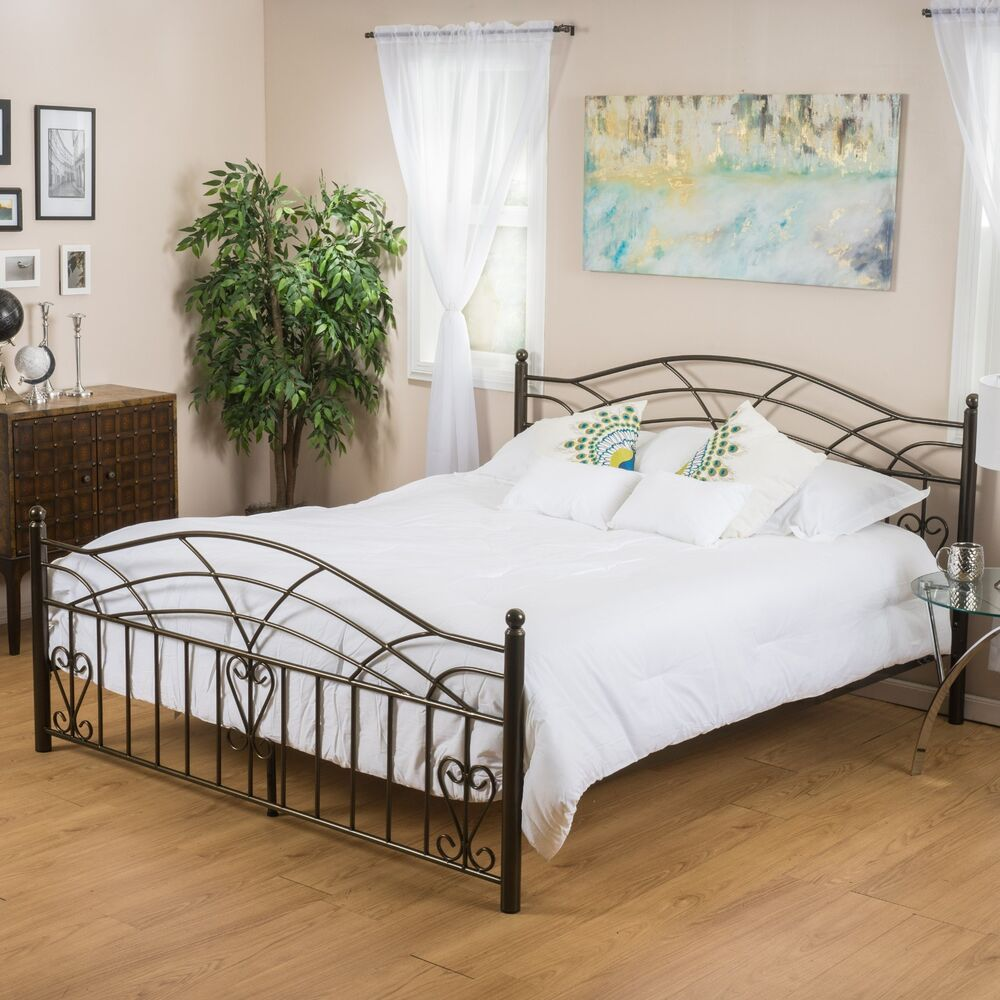 Bedroom furniture copper gold finish iron metal queen size for Queen size bedroom sets with mattress