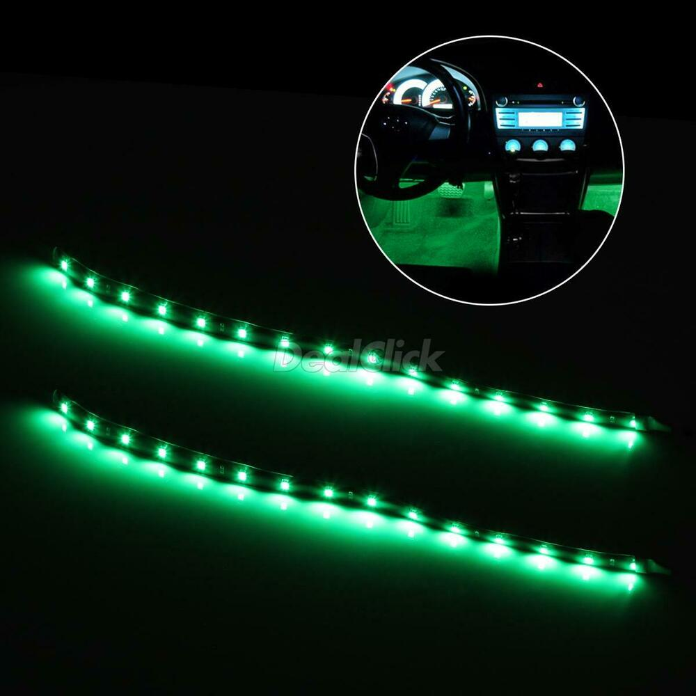 universal car interior decoration under dash floor led light strip green 2x12 ebay. Black Bedroom Furniture Sets. Home Design Ideas