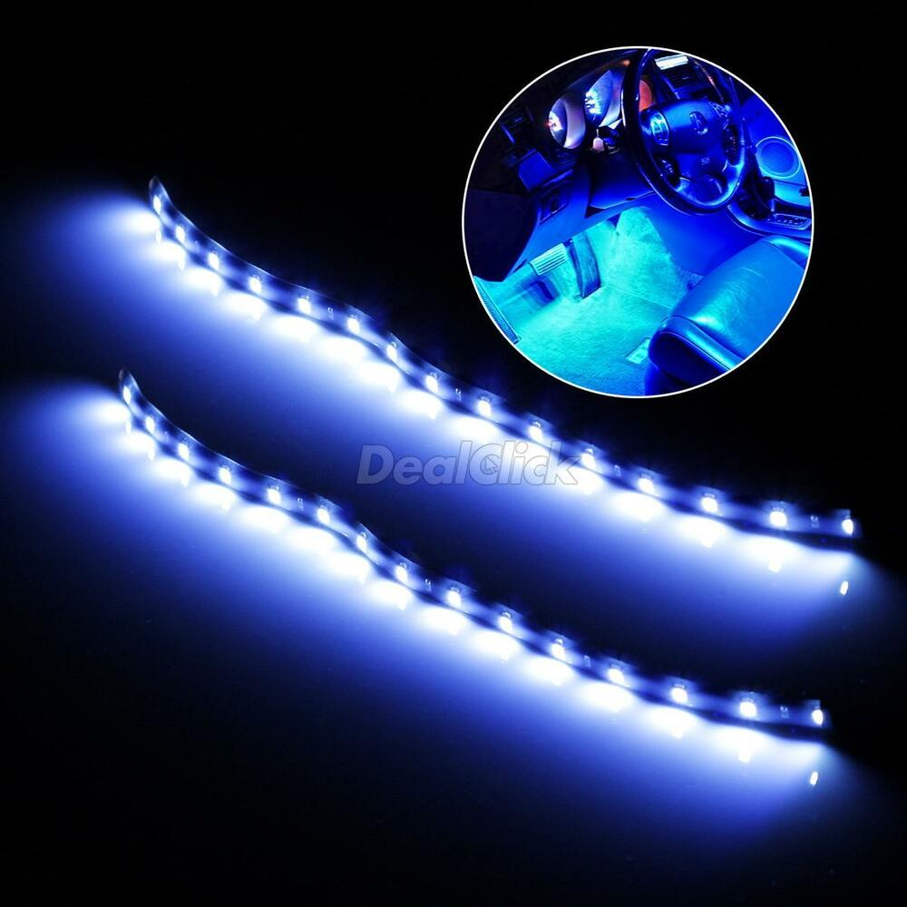 2 x 12 car led interior decoration under dash floor led light strip blue ebay. Black Bedroom Furniture Sets. Home Design Ideas