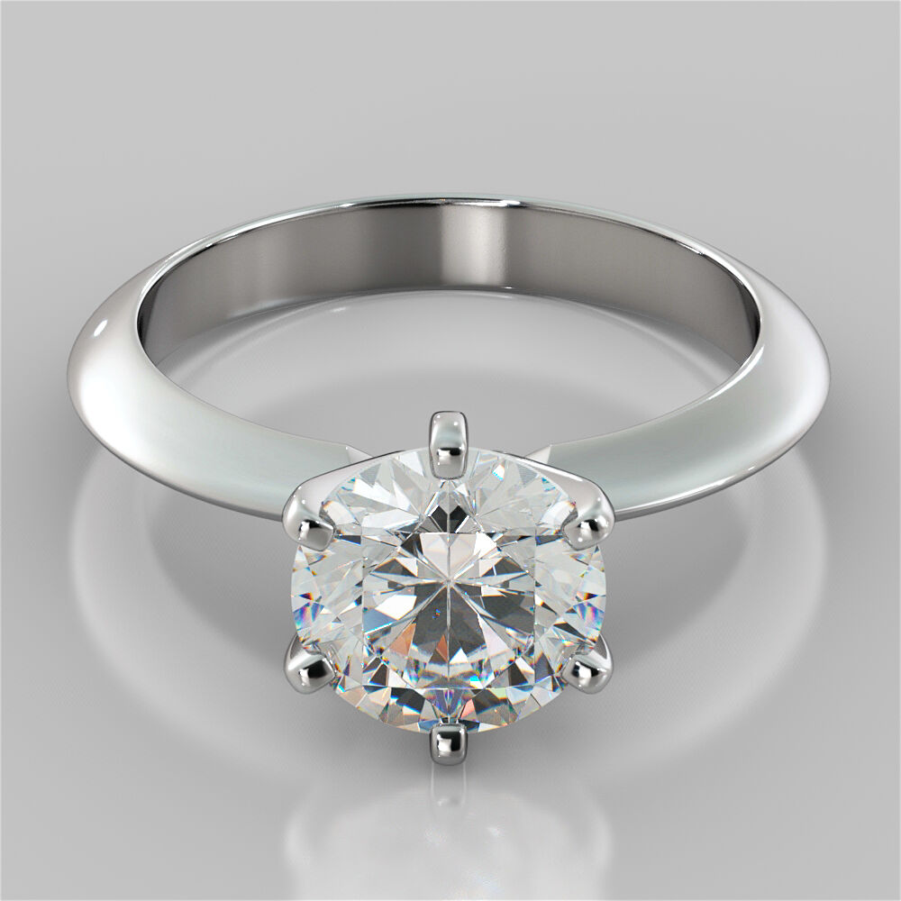 6-Prong Round Cut Solitaire Engagement Ring In 14K White