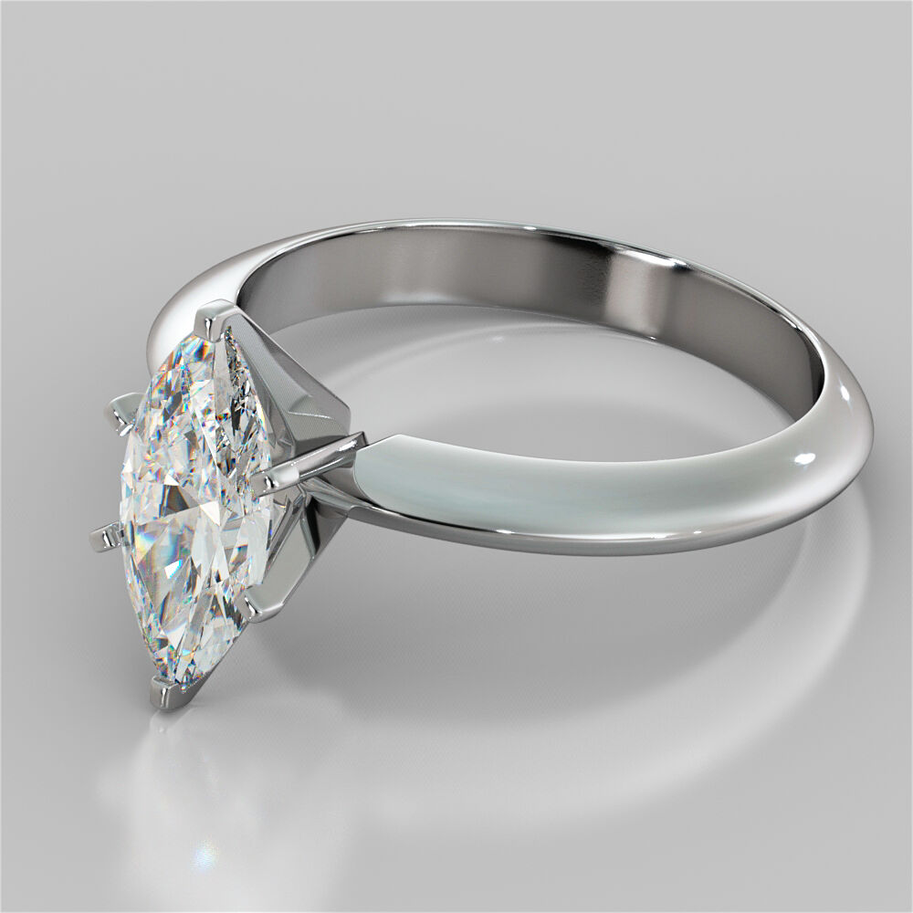 Marquise Cut 6 Prong Solitaire Engagement Ring In 14k