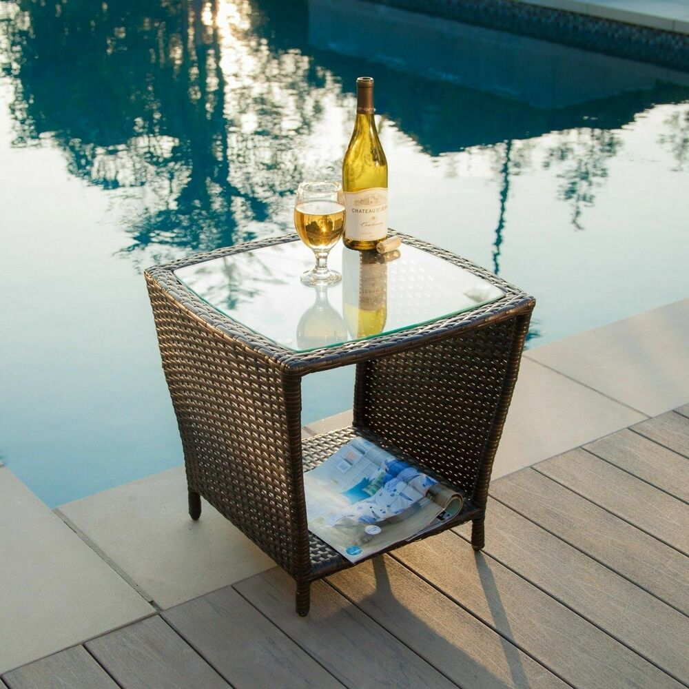 Outdoor Patio Furniture Elegant Brown Wicker Side Table W