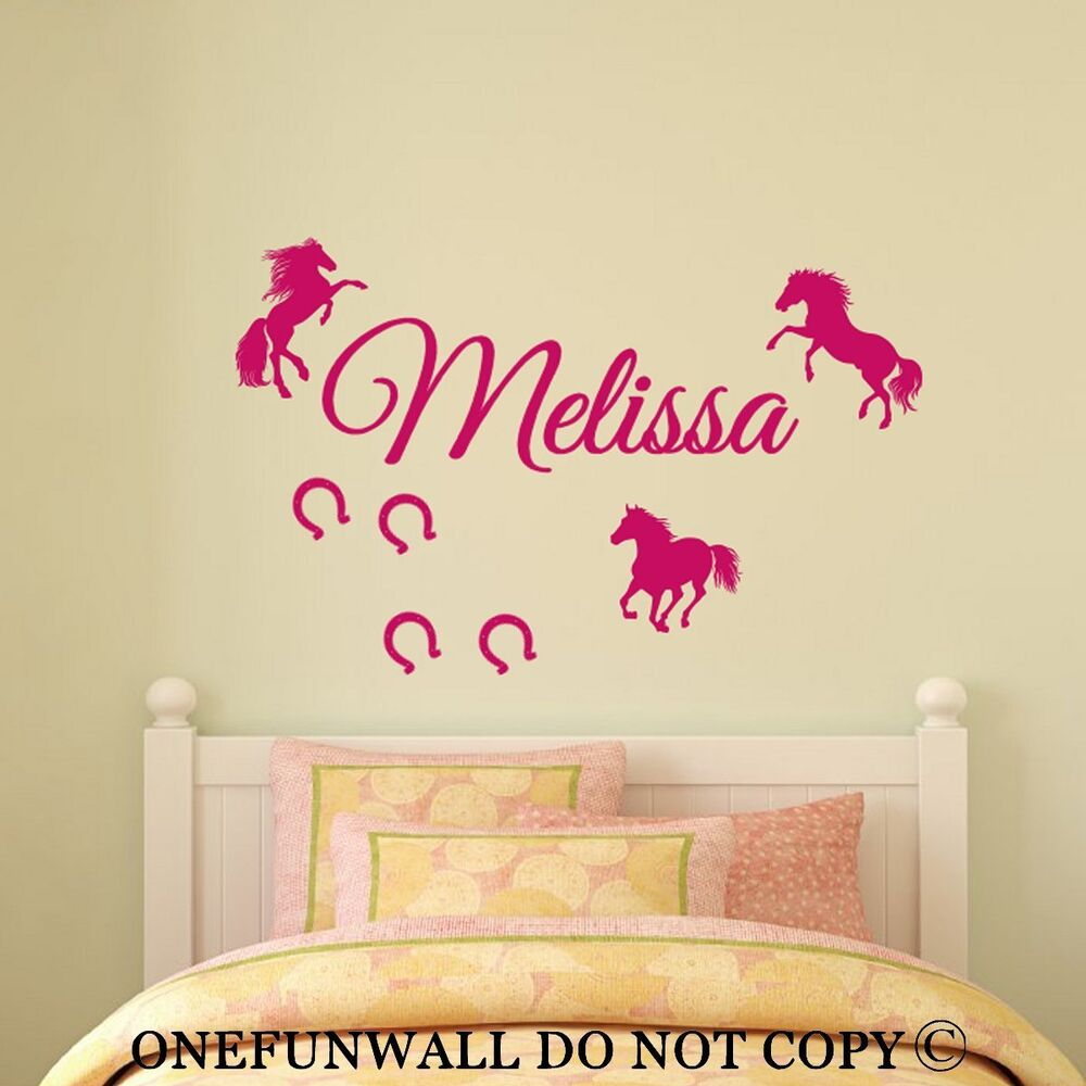 personalized name 3 horses horseshoes vinyl wall decal. Black Bedroom Furniture Sets. Home Design Ideas