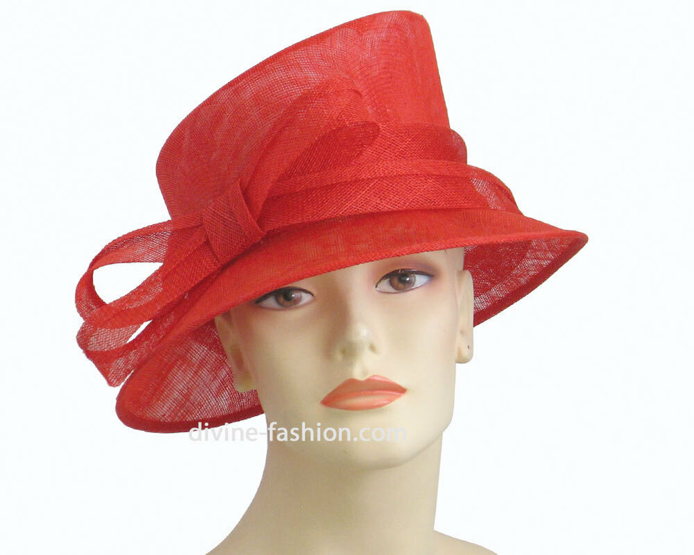 Women's Church Hat, Kentucky Derby Hat / Sinamay - Red, Bk ...