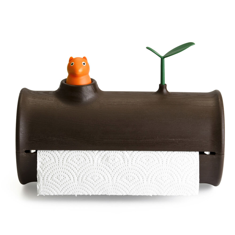 Qualy Log Amp Roll Paper Towel Holder Squirrel Amp Leaf