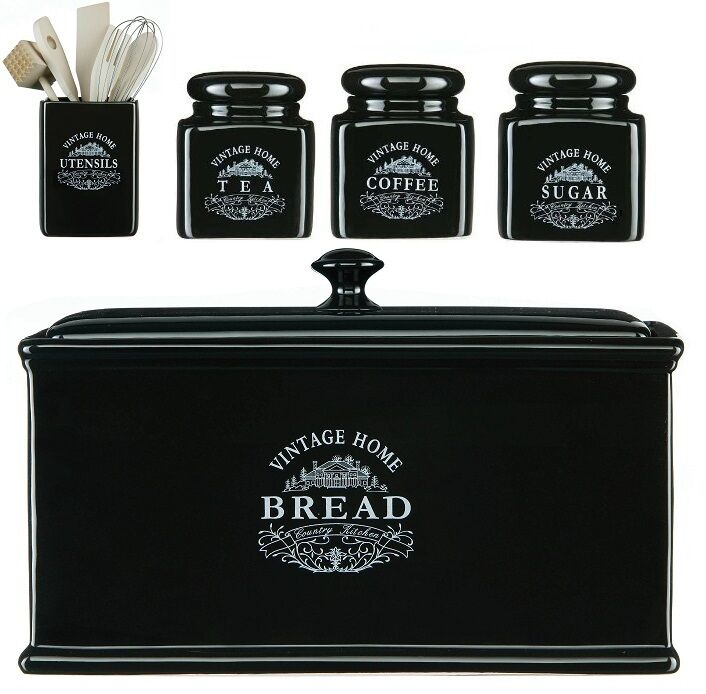 vintage black ceramic tea coffee sugar jar canisters bread white canister sets for kitchen counters white best home