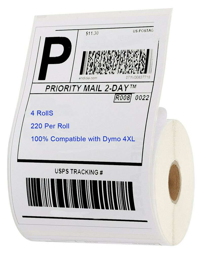 4 rolls 220 thermal shipping labels 4x6 compatible 1744907 for Dymo 4x6 labels
