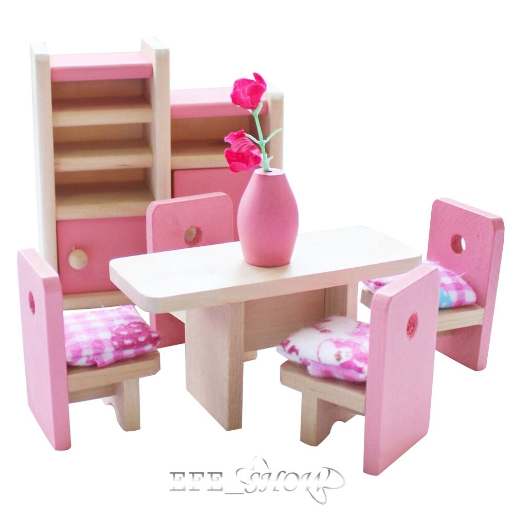 Wooden doll dinning furniture room dollhouse miniature for kids child play toy ebay Dolls wooden furniture