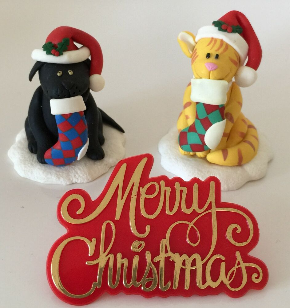 CHRISTMAS DOG and CAT Festive CAKE topper set CLAYDOUGH ...