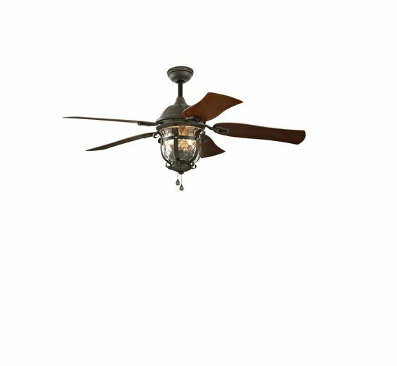 52-in Aged Iron Outdoor Downrod Or Flush Mount Ceiling Fan
