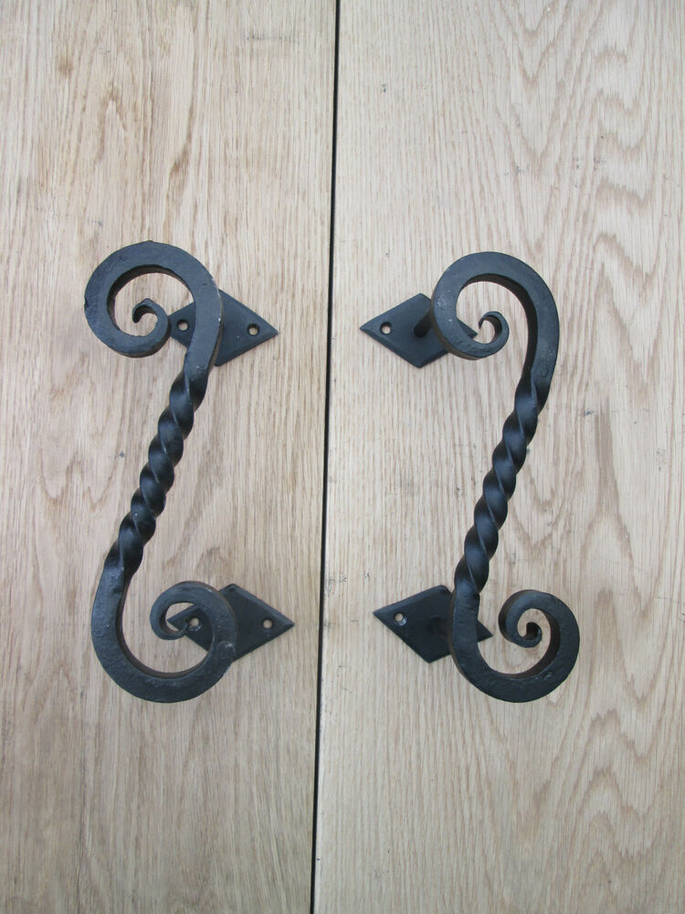 1 pair wrought iron hand forged heavy decorative door barn With decorative barn door handles