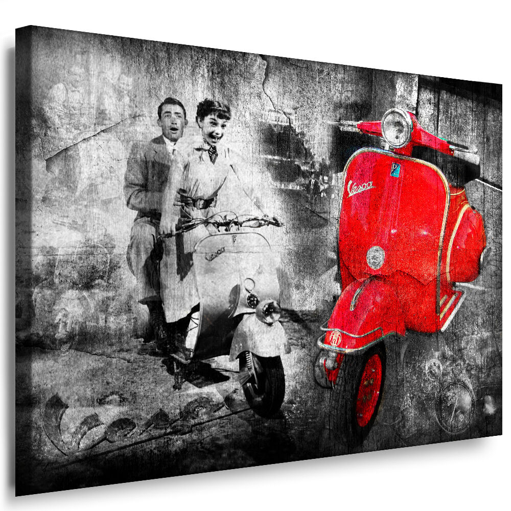 bild leinwand vespa audrey hepburn bilder mit keilrahmen kunstdruck kein poster ebay. Black Bedroom Furniture Sets. Home Design Ideas