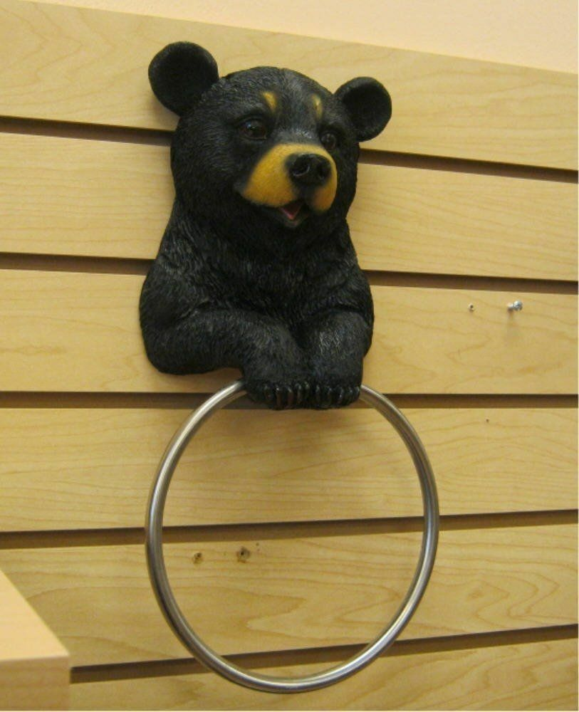 Vanity Bathroom Hugo Black Bear Hand Towel Ring Holder Figurine Home Decor Ebay