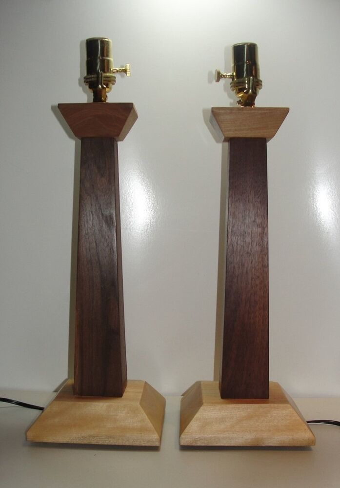 handmade mission style table lamps w brass natural wood maple mahogany ebay. Black Bedroom Furniture Sets. Home Design Ideas