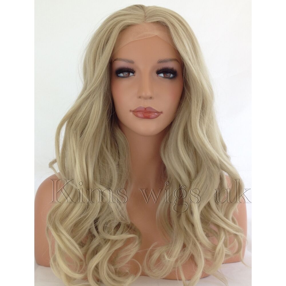 Light Blonde Long Womens Ladies Lace Front Wig Heat