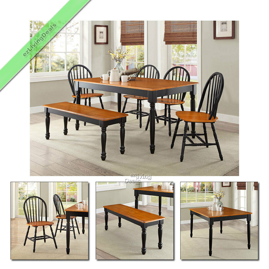 Country Dining Table With Bench: 6-Pc Farmhouse Dining Set Table Bench Chairs Wood Windsor