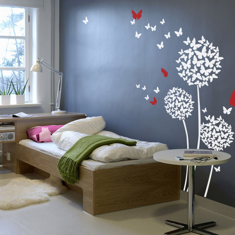 wall decals for bedrooms dandelion butterfly wall decal flower modern vinyl baby 17735