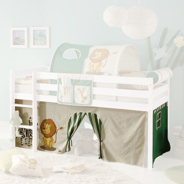 vorhang bettvorhang stoff safari dschungel f r hochbett spielbett kinderzimmer ebay. Black Bedroom Furniture Sets. Home Design Ideas