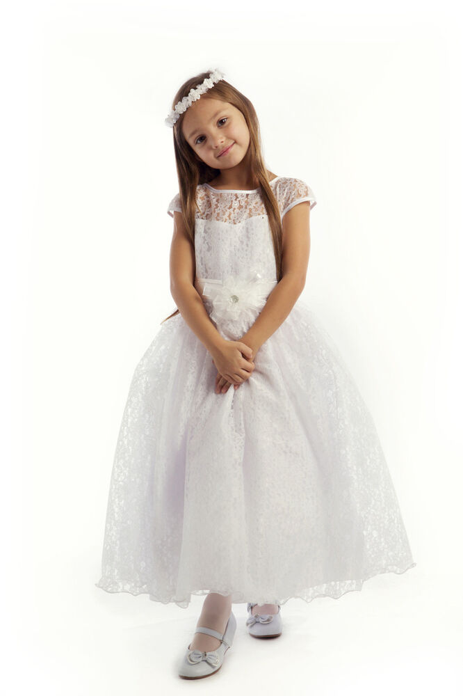 First Communion Flower Girl Dress Cap Sleeved Lace ...