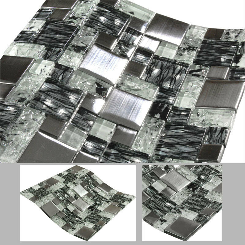 glasmosaik magic mosaik mosaikfliesen fliesen edelstahl glas wei schwarz bad ebay. Black Bedroom Furniture Sets. Home Design Ideas