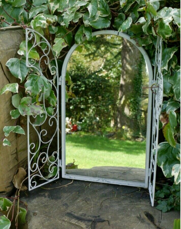 shabby chic garden miroir fen tre en m tal effet vieilli soft blanc style vintage ebay. Black Bedroom Furniture Sets. Home Design Ideas