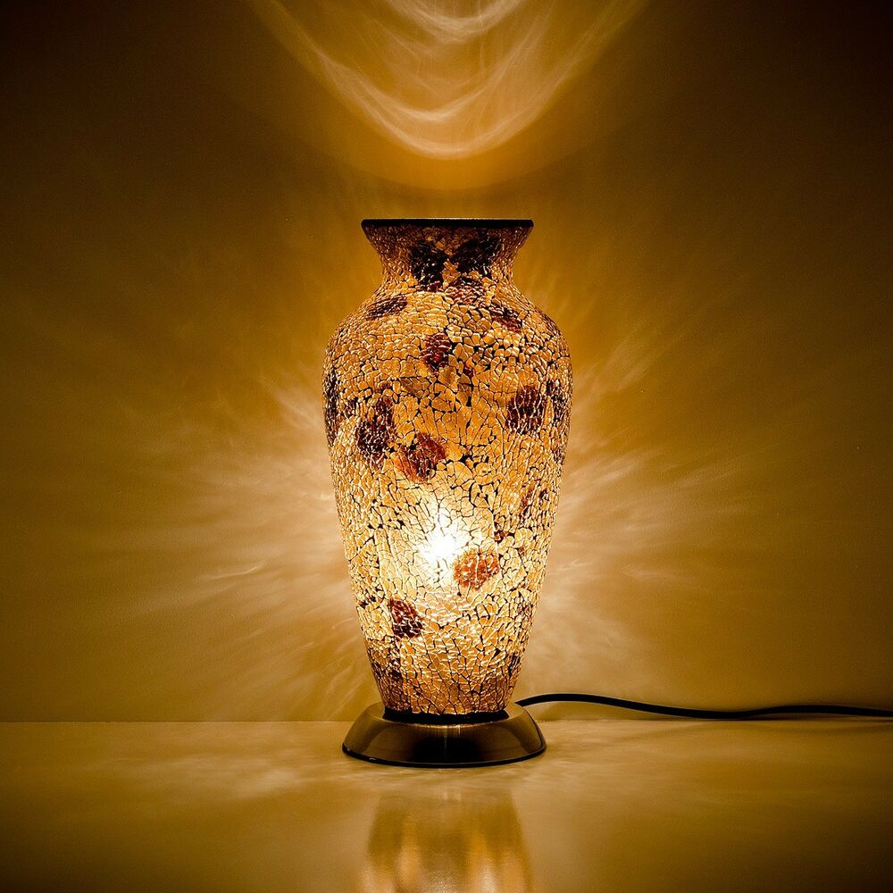 Lighting Lamps: Fabulous Mosaic Glass Crackle Autumn Gold / Amber Vase