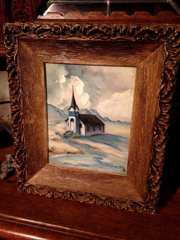 old church oil painting 8 x 10 canvas