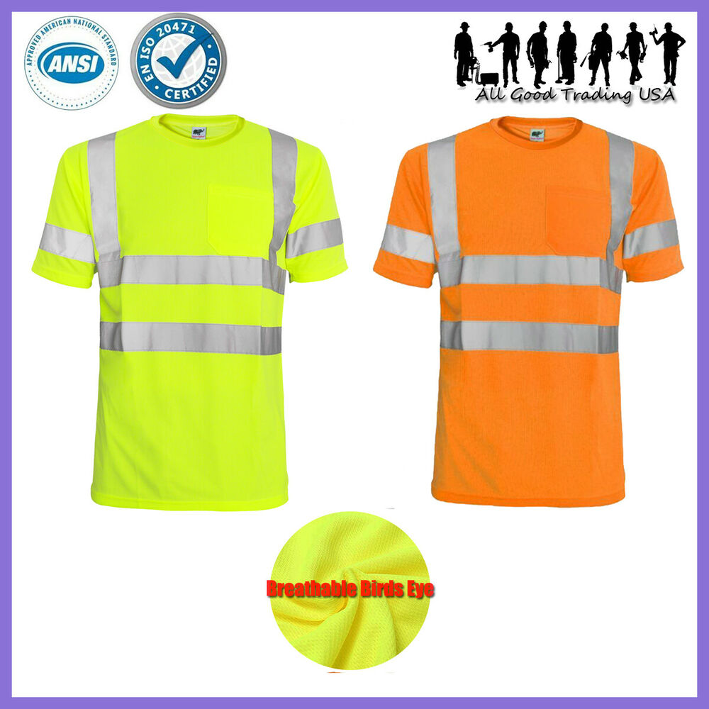 Hi Vis T Shirt Ansi Isea Class 3 Road Work Safety Short