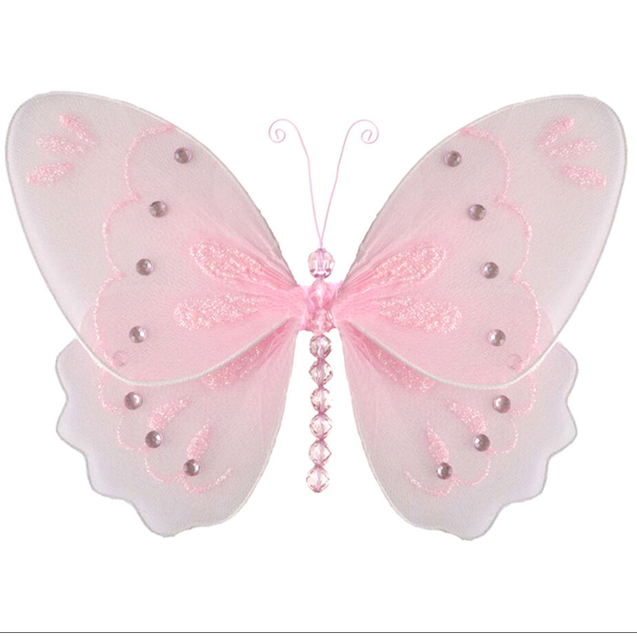 Hanging Butterfly Decor Pink Glitter Girl Room Baby