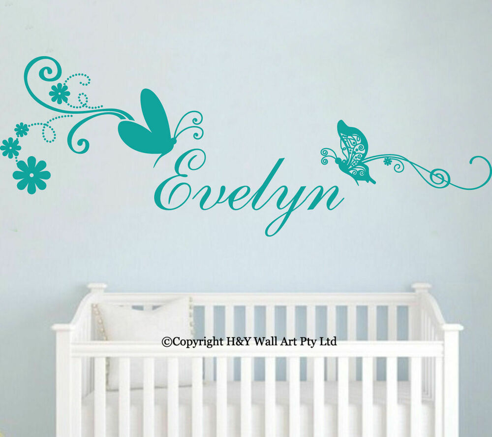 Butterflies custom personalised name wall stickers kid for Baby name nursery decoration