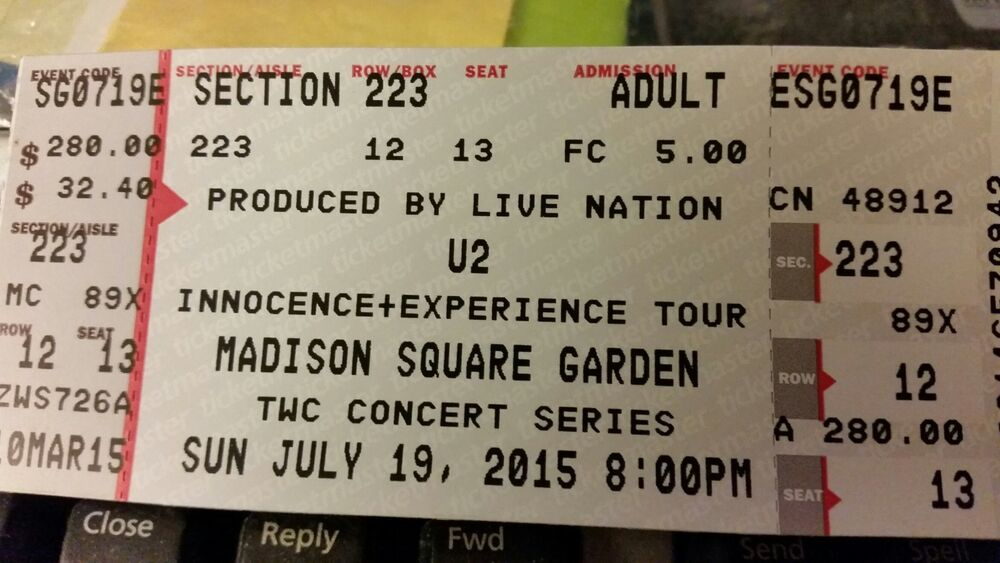 ticket u2 madison sq garden nyc 223 row 12 7 19 great seat
