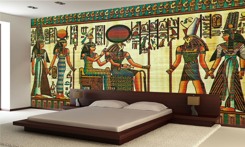 Egyptian papyrus painting wall mural photo wallpaper giant for Egyptian wallpaper mural