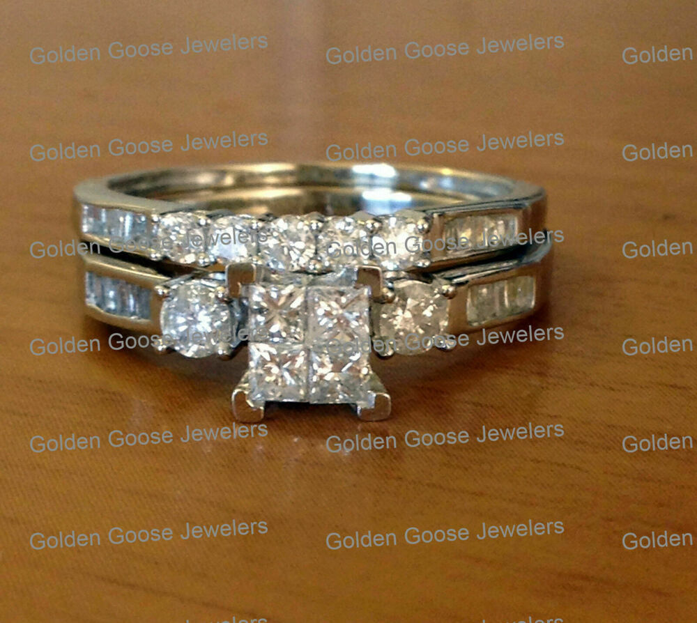10k White Gold Princess Cut Round Diamonds Engagement Bridal Set Wedding Ring